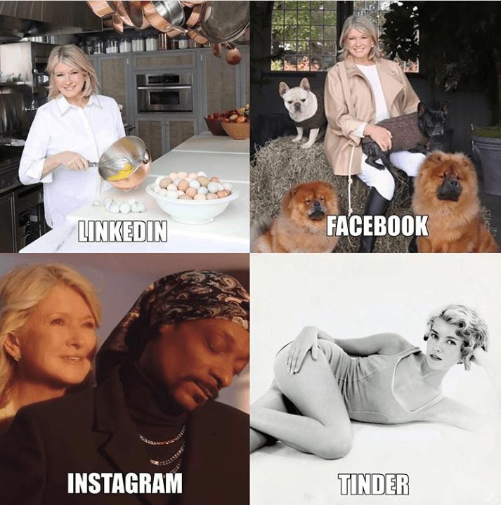 Linkedin Facebook Instagram Tinder
