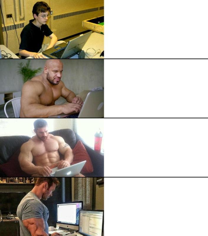 качки с ноутбуком мем