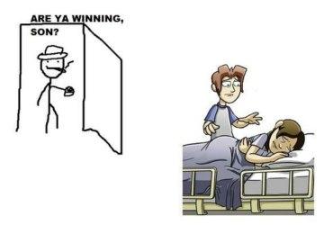 Ты там выигрываешь сынок?