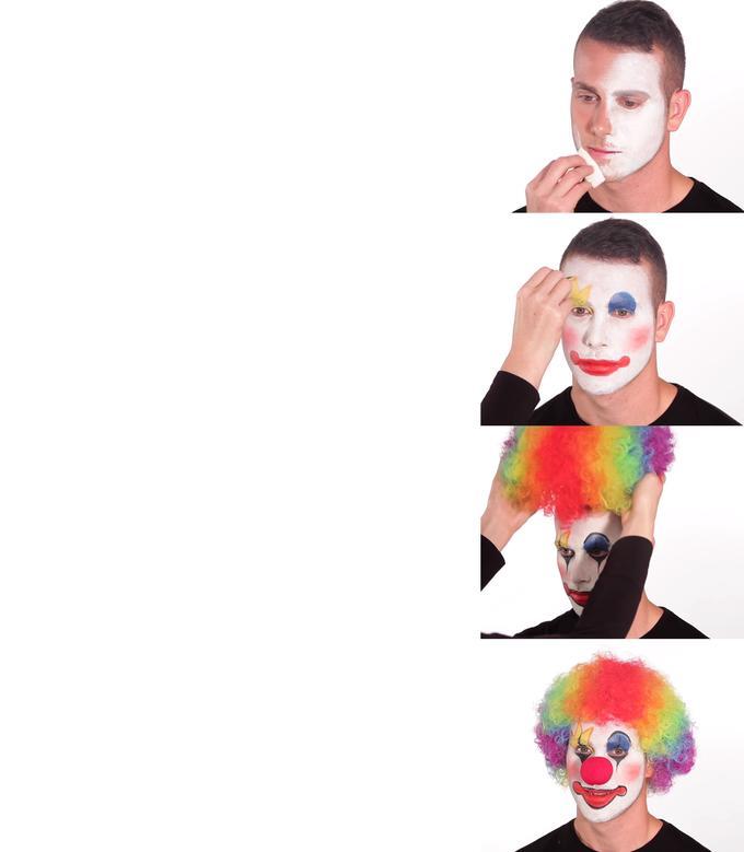 наносит клоунский грим
