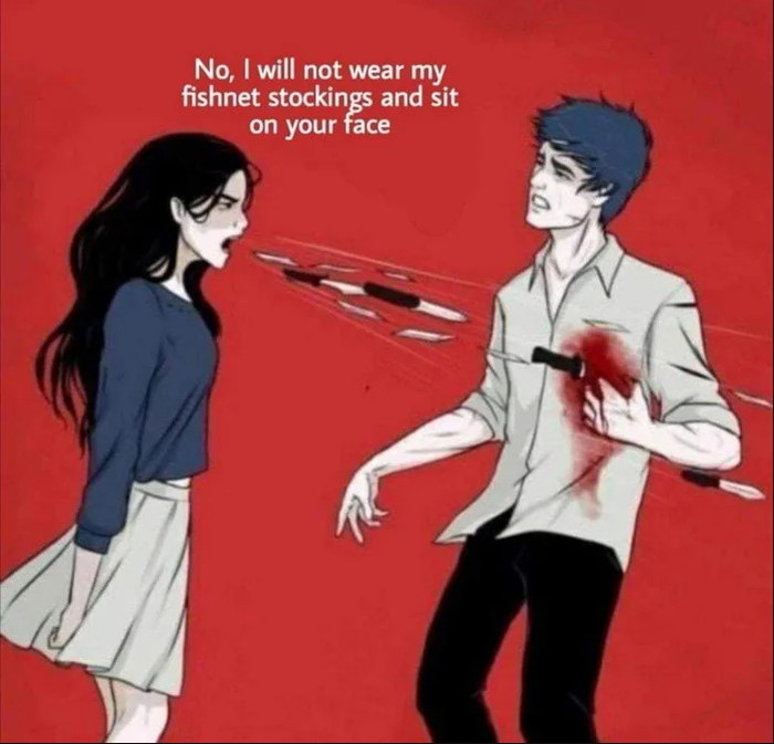 Woman Shouting Knives