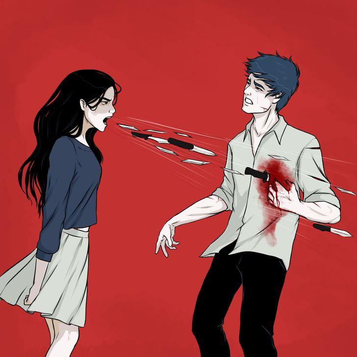 Девушка кричит ножами (Woman Shouting Knives)