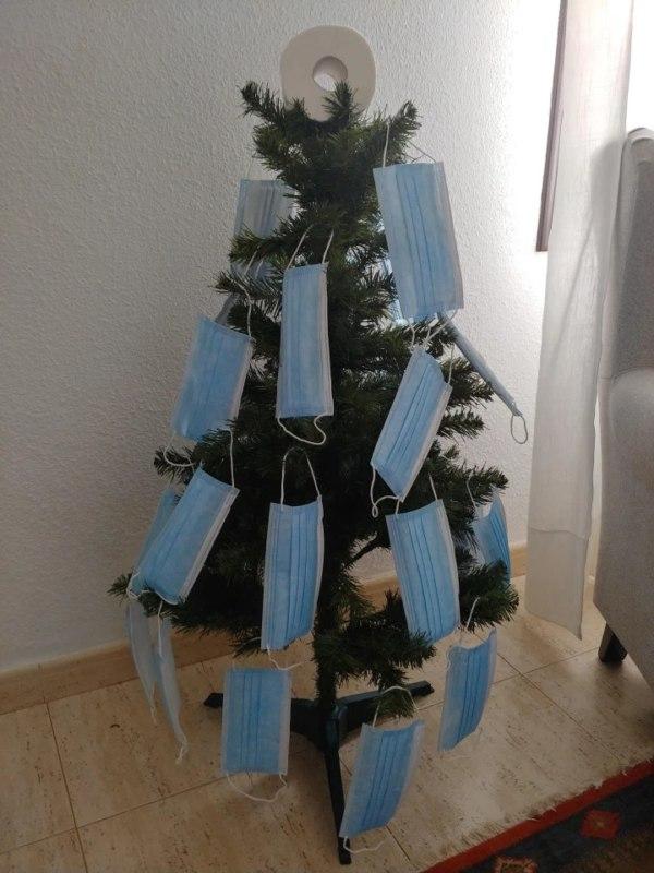 christmas tree with masks