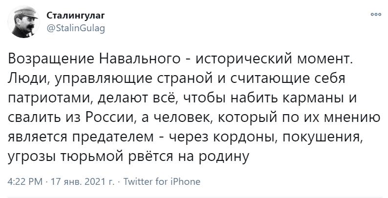 Навальный вернулся в Россию