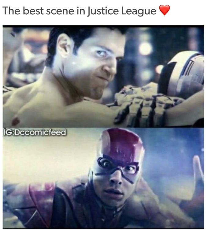 Флэш смотрит на Супермена