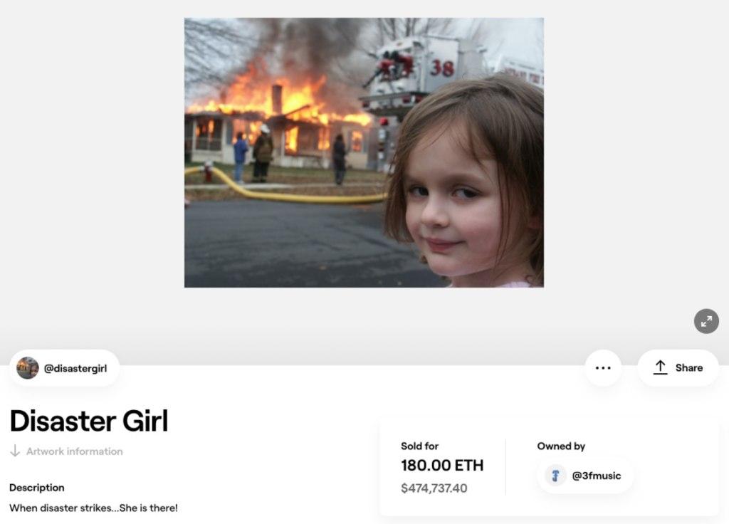 Девочка-катастрофа продала свой мем