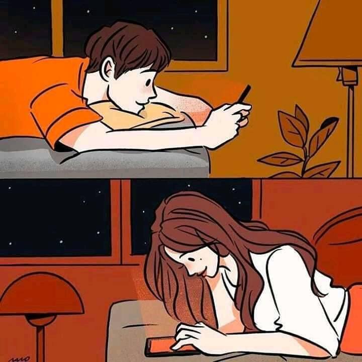 Удалить из друзей, заблокировать (Парень и девушка переписываются, Boy and Girl Texting)